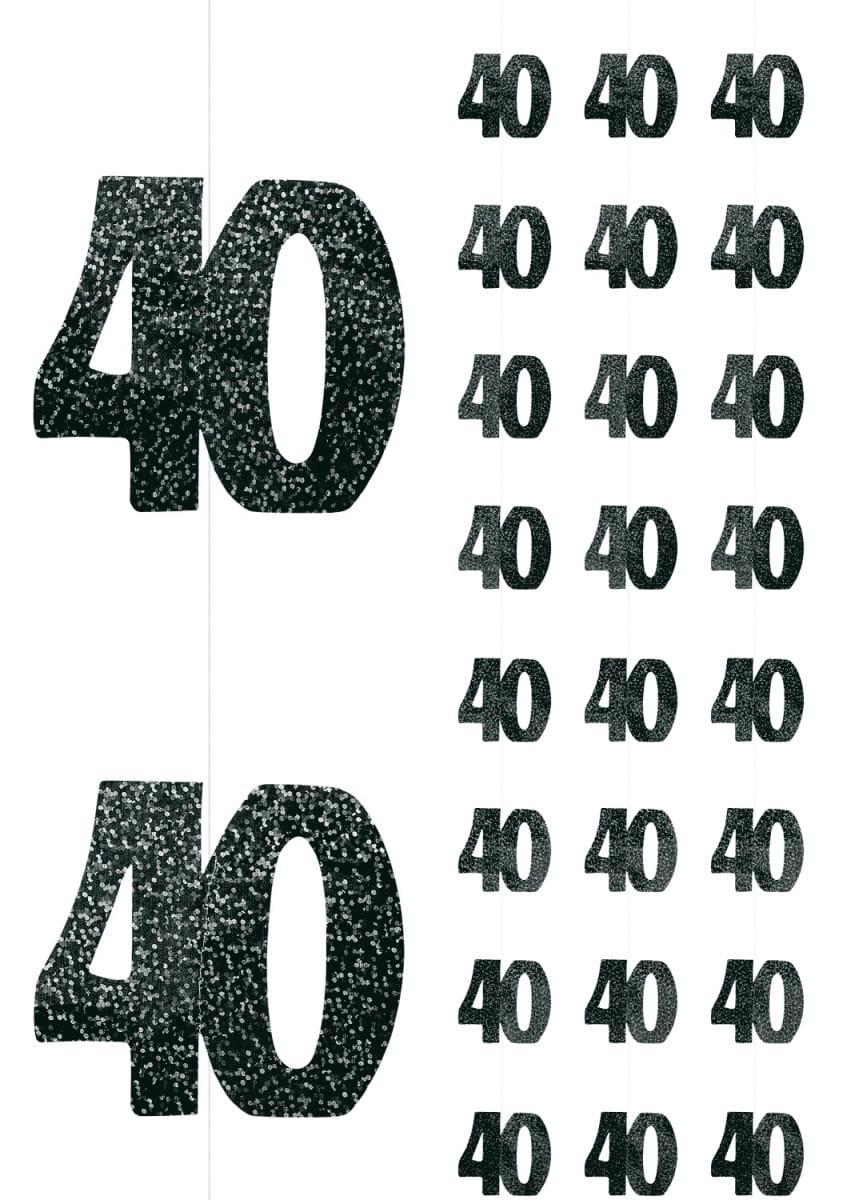 Dekoracja Wisząca 40 Urodziny Glitz 6szt Dekoracje Urodzinowe