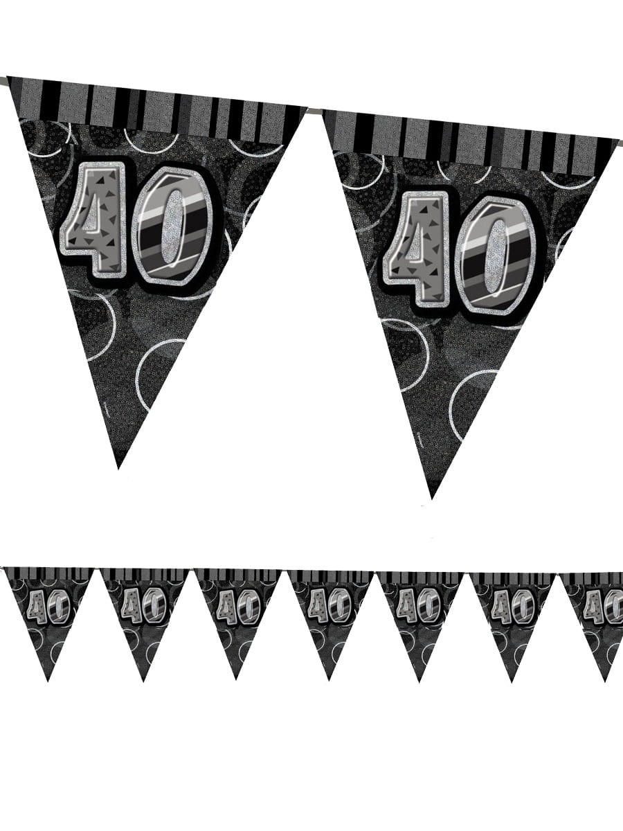 Girlanda Flagi 40 Urodziny Glitz Czarna 360cm Dekoracje Urodzinowe
